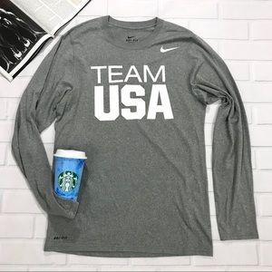 Nike Team USA grey Dri fit long sleeve Olympic US
